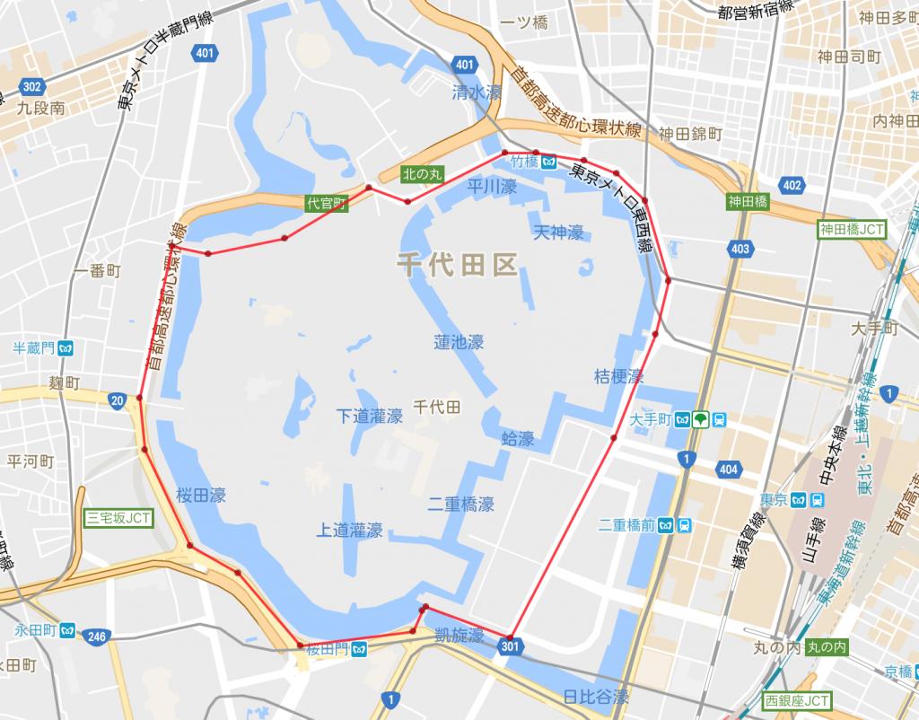 皇居、ランニング、距離、地図