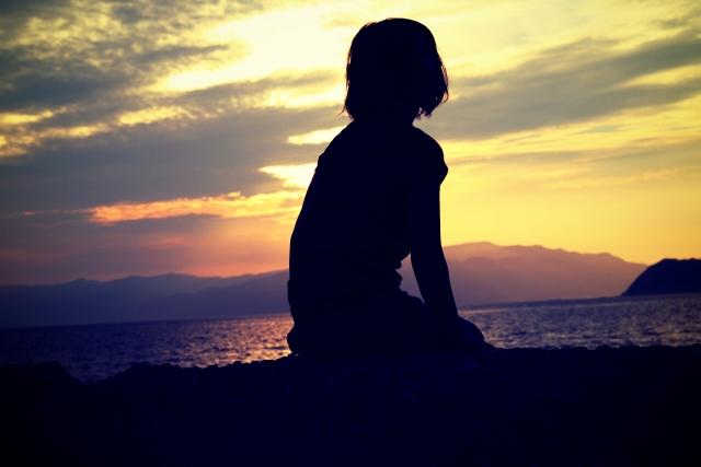 孤独、女性、黄昏
