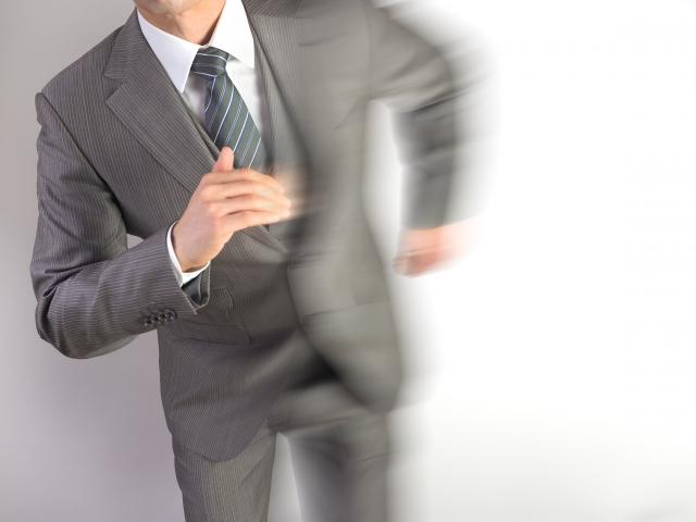 走る、ビジネスマン、仕事、速い