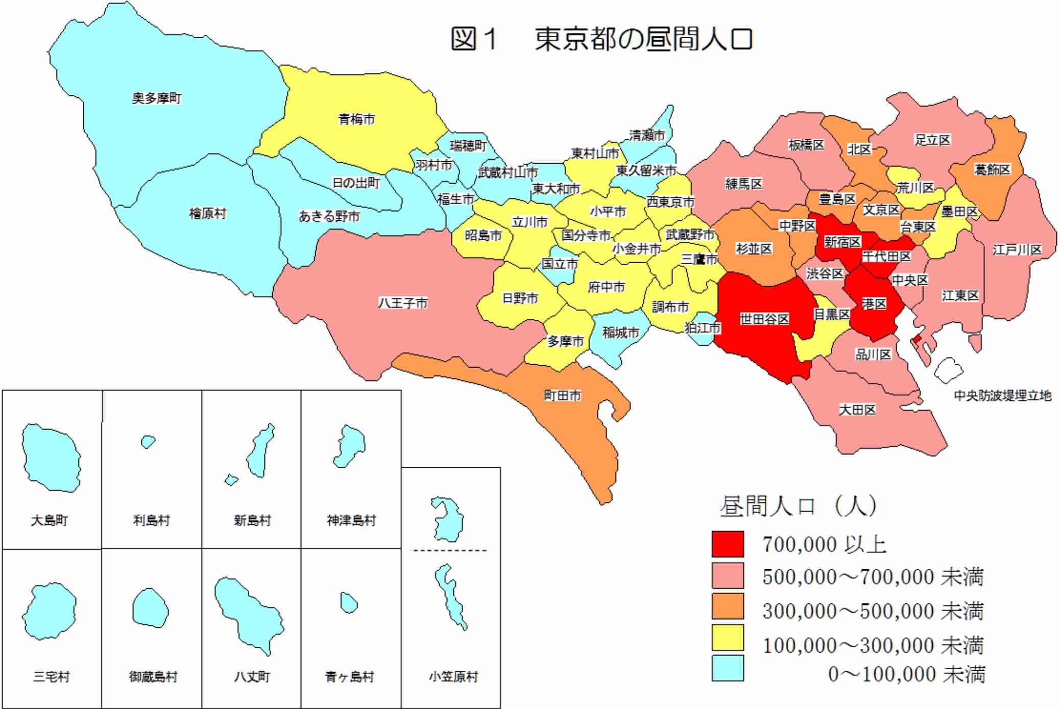 都内昼間人口マップ