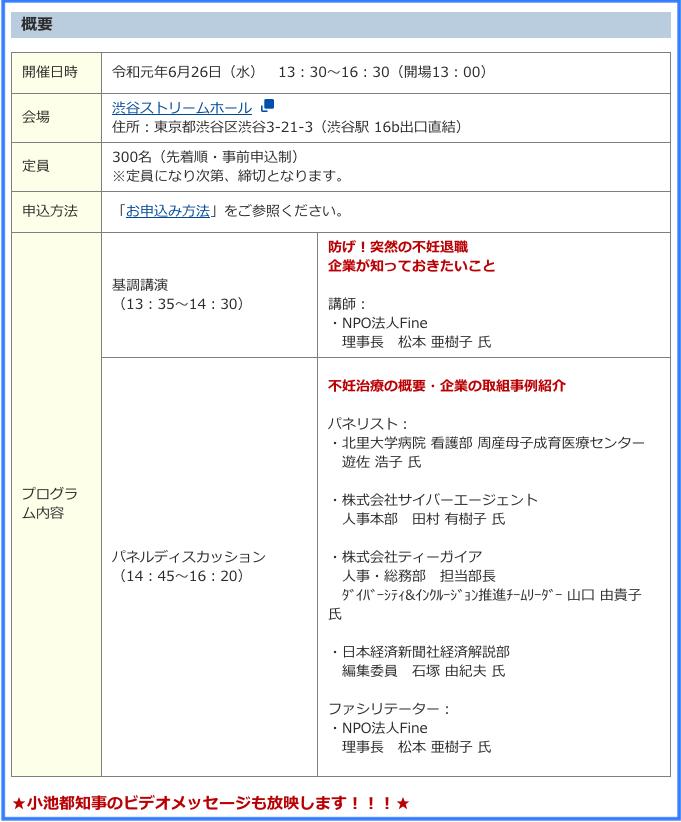不妊治療と仕事の両立推進シンポジウム2019